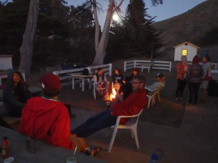 Sitting around the campfire on Santa Cruz Island